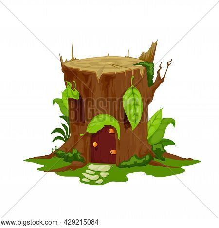 Cartoon Fairytale Stump House, Vector Stub Home, Fairy Dwelling For Dwarf Or Gnome With Wooden Door,