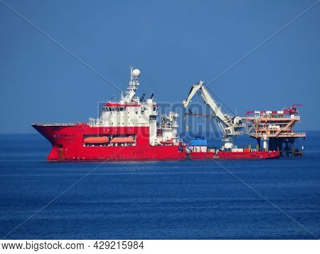 Supply Boat Operation Shipping Any Cargo Or Basket To Offshore. Support Transfer Any Cargo To Offsho