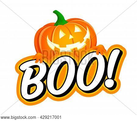 Boo Design With Halloween Pumpkin. Cute Halloween Greeting With Pumpkin. Good For Greeting Card Deco