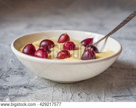 Milk Corn Porridge With Berries A Healthy Breakfast For Proper Nutrition