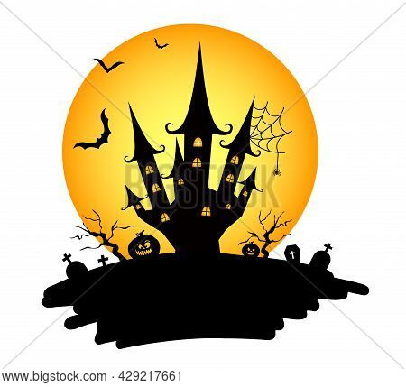 Halloween Night With Creepy Castle. Element For Banner, Greeting Card, Halloween Celebration, Hallow
