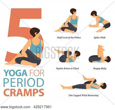 Infographic 5 Yoga Poses For Workout At Home In Concept Of Period Cramps In Flat Design. Women Exerc