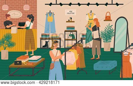Woman Buying Dress In Modern Fashion Boutique. Fashion Store Vector Illustration Set. Design Clothes