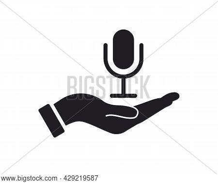 Hand Microphone Logo Design. Microphone Logo With Hand Concept Vector. Hand And Microphone Logo Desi