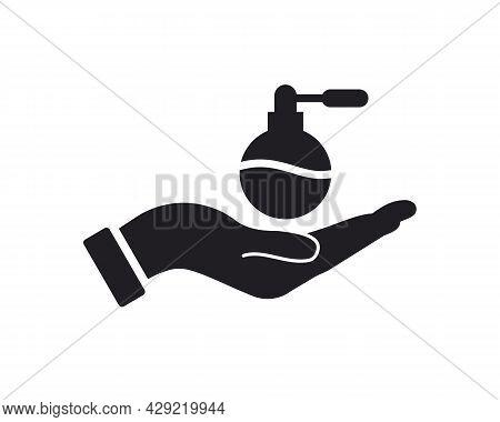 Hand Perfume Logo Design. Perfume Logo With Hand Concept Vector. Hand And Perfume Logo Design