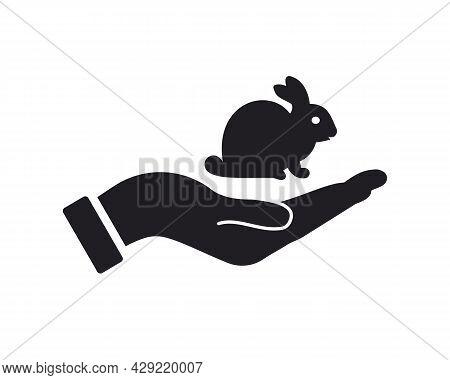 Hand Rabbit Logo Design. Rabbit Logo With Hand Concept Vector. Hand And Rabbit Logo Design