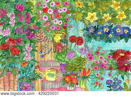Watercolor Art Painting With Flowers And Vintage Garden Objects, Flowerbed With Petunia And Geranium