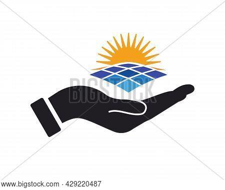 Hand Solar Logo Design. Solar Logo With Hand Concept Vector. Hand And Solar Logo Design