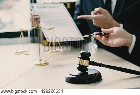 Gavel Hammer Standing In Front Of The Lawyer Providing Legal Consult Business Dispute Service At The