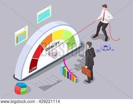 Businessman Turning Quality Meter Arrow With Rope, Vector Isometric Illustration. Quality Management