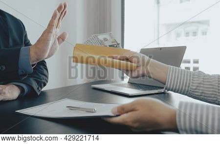 Government Officials Raise The Hand Refusing Money To Take The Bribe Money From Business Man The Con