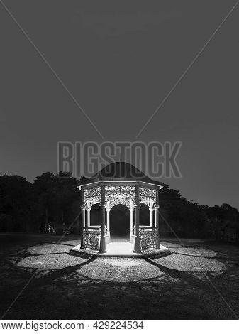 Calssical Pavilion In Public Park At Night