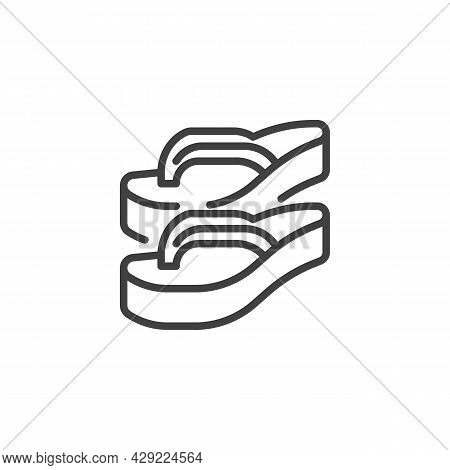Strap Sandal Line Icon. Linear Style Sign For Mobile Concept And Web Design. Flip Flops Slippers Out