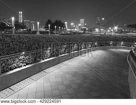 Path In Park In Midtown Of Hong Kong City At Night