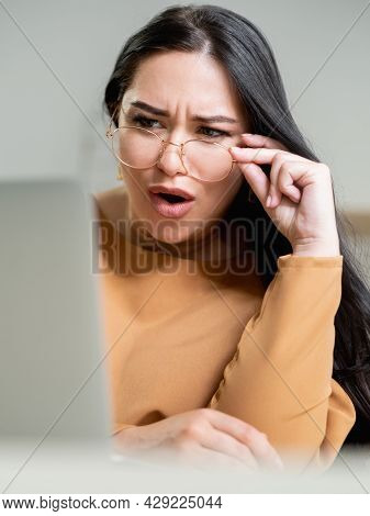 Shock Content. Surprised Woman. Unexpected Situation. Unbelievable Behavior. Pretty Brunette Lady To