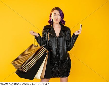 Bank Problem. Shocked Woman. Shopping Fail. Credit Money. Unexpected Situation. Upset Surprised Lady