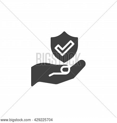 Insurance Service Vector Icon. Filled Flat Sign For Mobile Concept And Web Design. Hand And Shield W