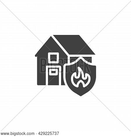 Home Fire Insurance Vector Icon. Filled Flat Sign For Mobile Concept And Web Design. House And Shiel