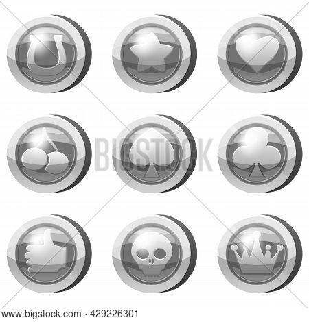Set Of Silver Coins For Game Apps. Silver Icons Star, Heart, Card Suits, Crown, Cherry, Symbols Game