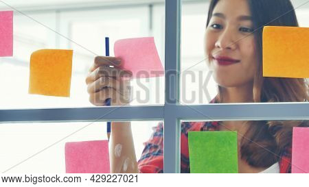 Creative Design Woman Use Sticky Note Thinking Share Ideas. Woman Present Talking Use Sticky Notes P