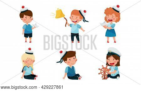 Little Children In Mariner Costume And Forage Cap Or Peakless Hat Playing Sailor Vector Illustration