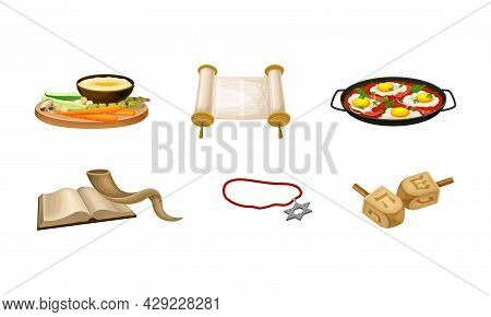 Israeli Or Jewish Attributes With Horn, Bible And Dreidel Vector Set