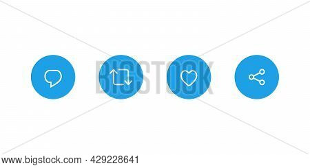 Reply Tweet, Retweet, Like, and Share. Icon Set of Social Media. Vector Illustration