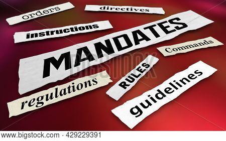 Mandates Rules Regulations News Headlines 3d Illustration