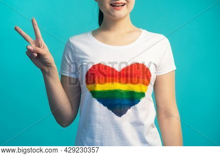 Peace Sign. Lgbt Pride. Gay Rights. Gender Equality. Unrecognizable Smiling Woman With V Victory Han