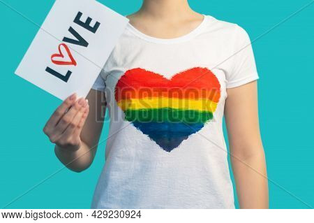 Lesbian Love. Sexual Orientation. Lgbtqia Pride. Gay Relationship. Woman In T-shirt With Lgbt Colorf