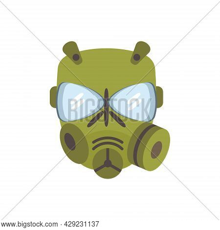 Protection Gas Mask, Vector Flat Paintball Or Airsoft Icon