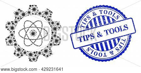 Covid Collage Atomic Industry Icon, And Grunge Tips And Tools Seal Stamp. Atomic Industry Collage Fo
