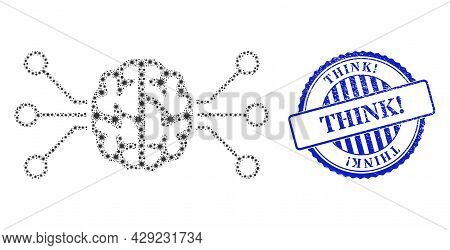 Cell Collage Brain Circuit Icon, And Grunge Think Exclamation Seal Stamp. Brain Circuit Collage For