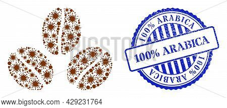 Contagious Mosaic Cacao Beans Icon, And Grunge 100 Percents Arabica Stamp. Cacao Beans Mosaic For Me