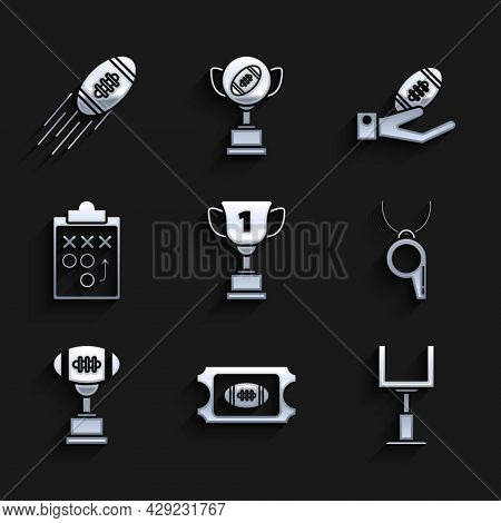 Set Award Cup, American Football Ticket, Football Goal Post, Whistle, And, Planning Strategy Concept