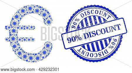 Covid Collage Euro Symbol Icon, And Grunge 90 Percents Discount Seal Stamp. Euro Symbol Mosaic For B