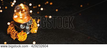 Skull With Marigold Flowers Wreath And Bokeh Lights On Black Banner. Dia De Los Muertos Day Or Day O