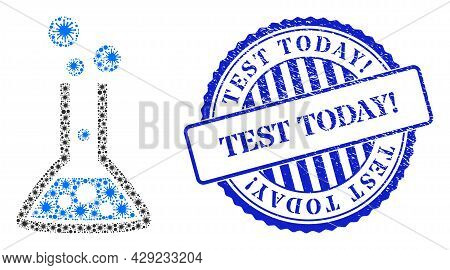 Covid-2019 Mosaic Reaction Flask Icon, And Grunge Test Today Exclamation Seal. Reaction Flask Mosaic