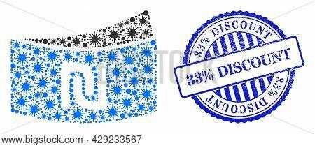 Bacterium Mosaic Shekel Banknote Icon, And Grunge 33 Percents Discount Seal. Shekel Banknote Mosaic