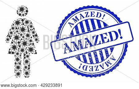 Bacilla Mosaic Woman Icon, And Grunge Amazed Exclamation Seal. Woman Mosaic For Isolation Images, An