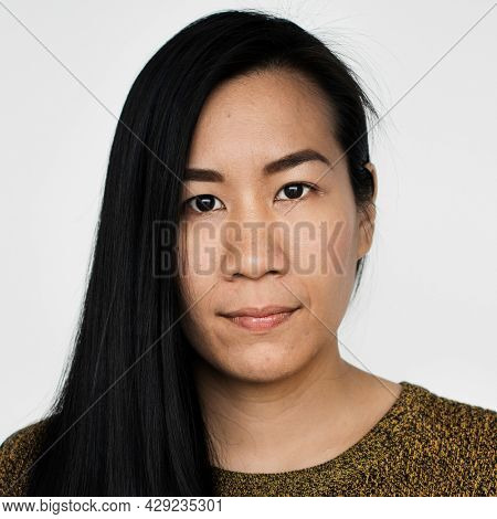 Worldface-Malaysian woman in a white background
