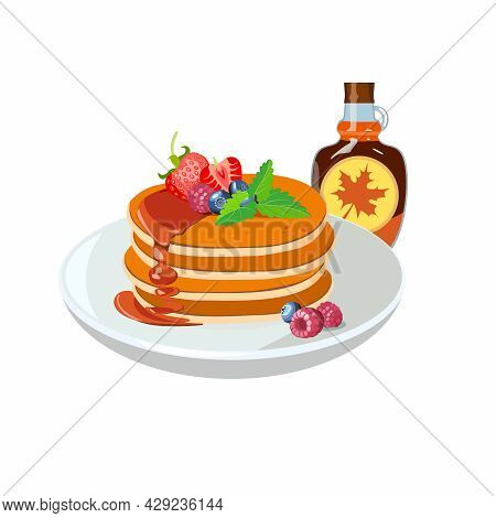 Classic Hotel Breakfast With Pancakes, Maple Syrup, Strawberry And Raspberry, Brunch Healthy Start D