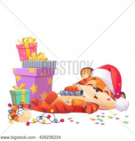 Cute New Year Tiger Cartoon Character In Santa Claus Hat Sleeping At Gift Boxes With Cracker, Confet