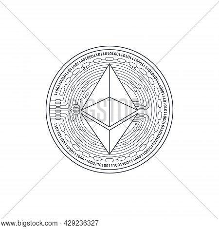 Ethereum Icon. Cryptocurrency Logo. Digital Cryptographic Currency Ethereum. Ethereum Sign Concept.