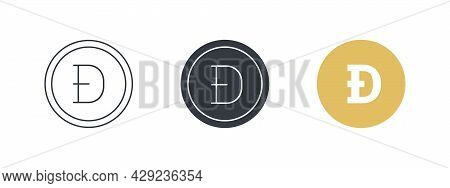 Dogecoin Icon Concept. Cryptocurrency Logo Variations. Digital Cryptographic Currency Dogecoin. Vect