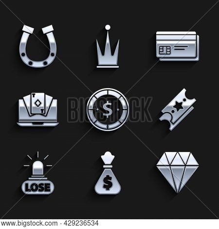 Set Casino Chip With Dollar, Money Bag, Diamond, Lottery Ticket, Losing, Online Poker Table Game, Cr