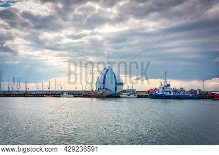 Hel, Poland - July 29, 2021: The Harbor of Hel town - small fisherman town at Baltic Sea, Poland.