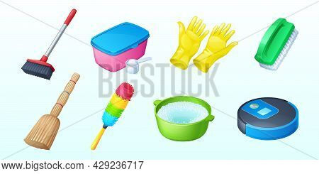 Equipment For Cleaning With Brush, Broom, Gloves And Robot Vacuum Cleaner. Vector Cartoon Set Of Too
