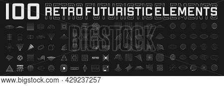 Set Of Retrofuturistic Design Elements. Perspective Grids, Tunnels, Retro Title, Polar Grid, Geometr