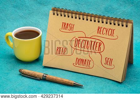 declutter (keep, recycle, trash, sell, donate - handwriting and mind map in a spiral notebook with a cup of coffee, minimalism, business and lifestyle concept